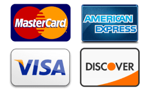 mastercard, american express, visa and discover card accepted